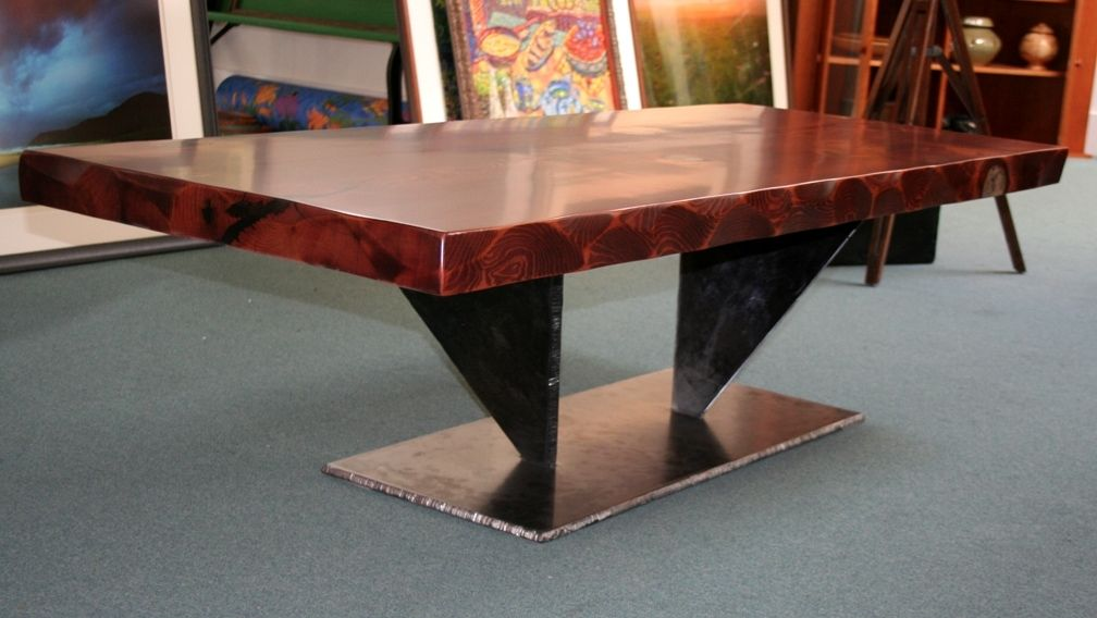 Hand Crafted Old Growth Redwood Coffee Table By Symmetree