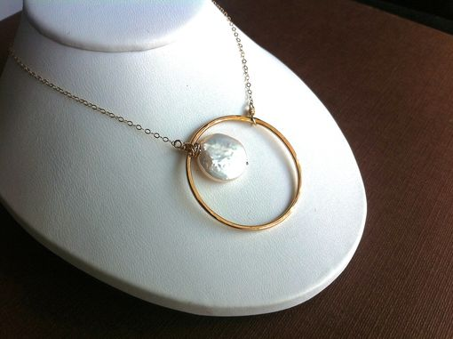 Custom Made Signature Circle Necklace With Freshwater Pearl