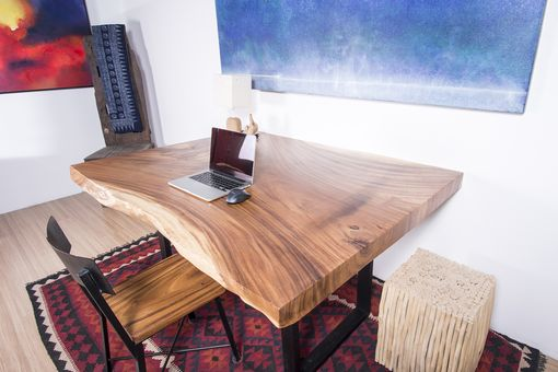 Custom Made Live Edge Wood Slab Square Table - Thick Cut