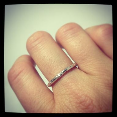 Custom Made Silver Stacking Ring - One Sterling Silver Stacking Ring - Hammered Silver Ring