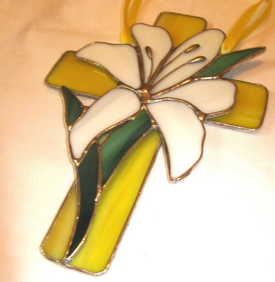 Handmade Lily Cross Decorative Stained Glass by Windflower Design ...