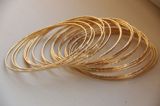 Custom Made Set Of 5 Skinny 14k Gold Filled Hand Hammered Stackable Bangles