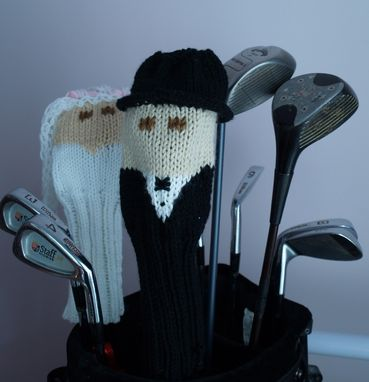 Custom Made Bride And Groom Wedding Knit Golf Club Covers