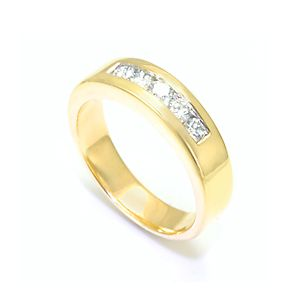 Custom Made Round Diamond Band In 14k Yellow Gold, Mens Band, Wedding Band