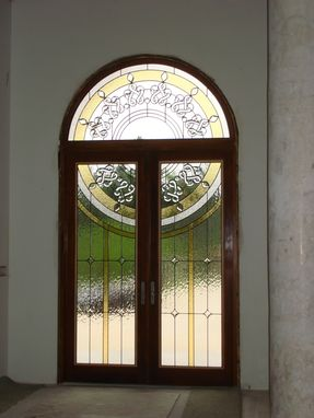Custom Made Hurricane Resistant Entryway With Custom Stained Glass Panel Inserts
