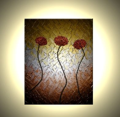 Custom Made Red Flowers, Original Poppies Painting, Abstract Copper Metallic Floral, Textured Palette Knife