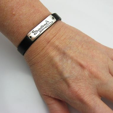 Custom Made Personalized Silver Handwriting And Leather Cuff Bracelet