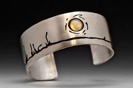 Custom Made Boreal Treeline Cuff Bracelet, Sterling Silver And Gold