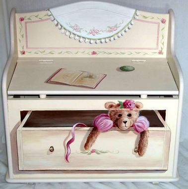 Custom Made Trompe L'Oeil Painted Childrens Toy Chest