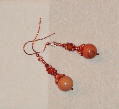 Custom Made Red Malachite And Carnelian Earrings In Copper