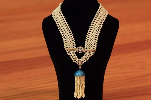 Custom Made Hand Woven Seed Pearl Sautoir Tassel Necklace With A Touch Of Blue