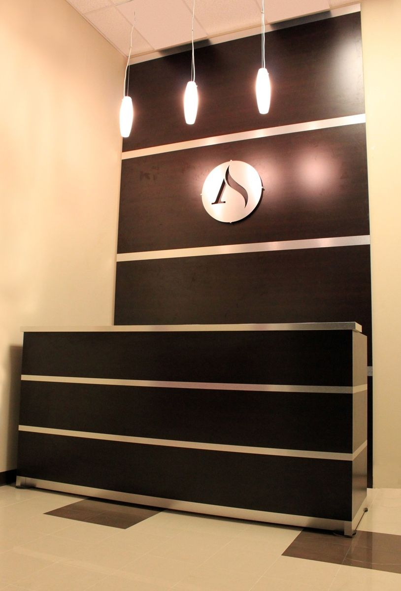 Custom Reception Desk Amp Accent Wall Brushed Aluminum