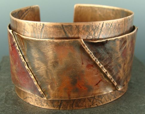 Custom Made Riveted Double Layer Wide Copper Cuff Bracelet