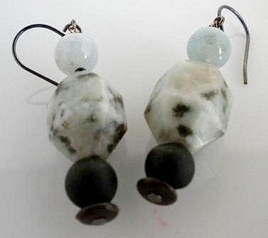 Custom Made Earrings Sesame Jasper And Aquamarine