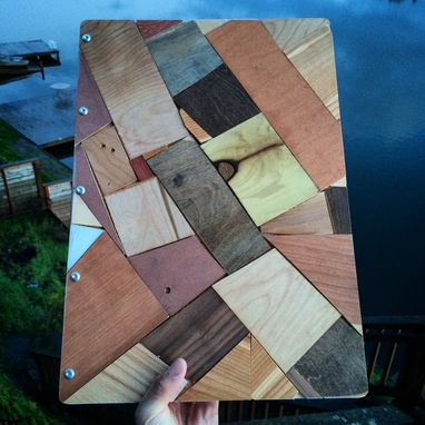 Custom Made Csutom Upcycled Wooden Portfolio/Album/Heirloom/Wedding With 10 Sheet Protectors & Custom Engraving