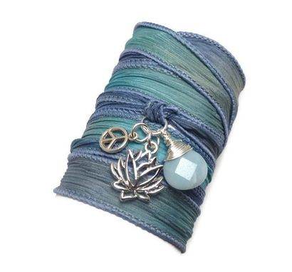 Custom Made Silk Wrap Bracelet With Lotus Flower, Peace Sign, And Amazonite
