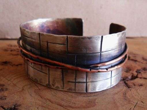 Custom Made Mens Or Womens Sterling And Copper Cuff Bracelet