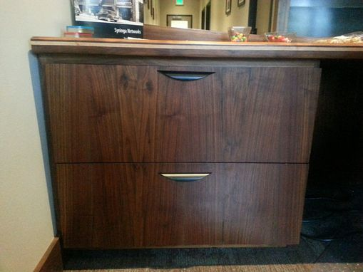 Custom Made Walnut File Cabinets Under Desk