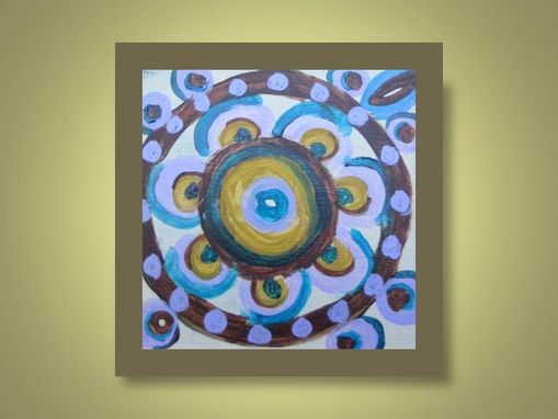 "Custom Made Circle Original Painting Chakra 4""X4"" Purple Brown Blue Chakra Abstract Painting By Devikasart"