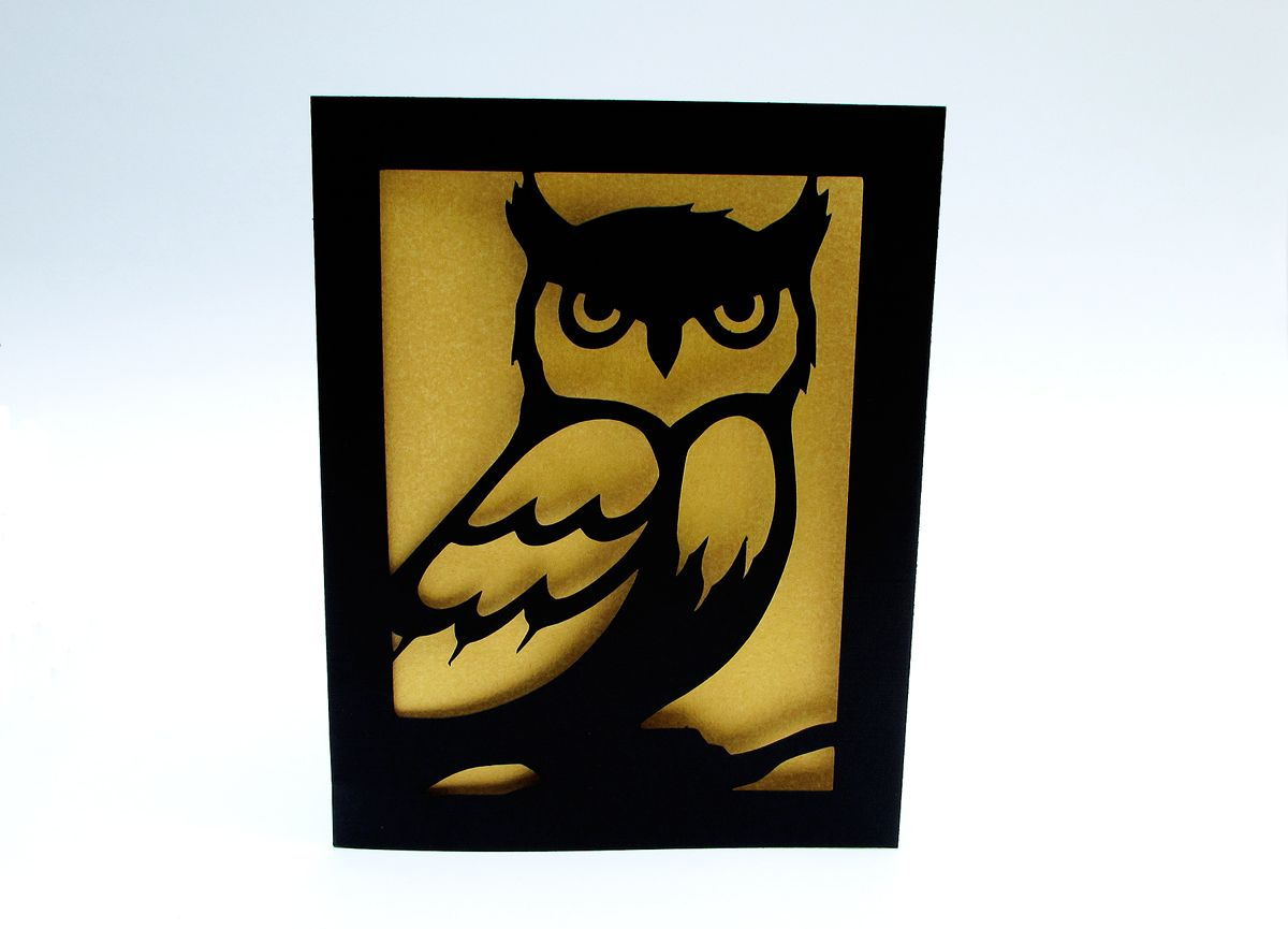 Buy a Hand Crafted Owl Greeting Card Gold & Black Silhouette Cut ...