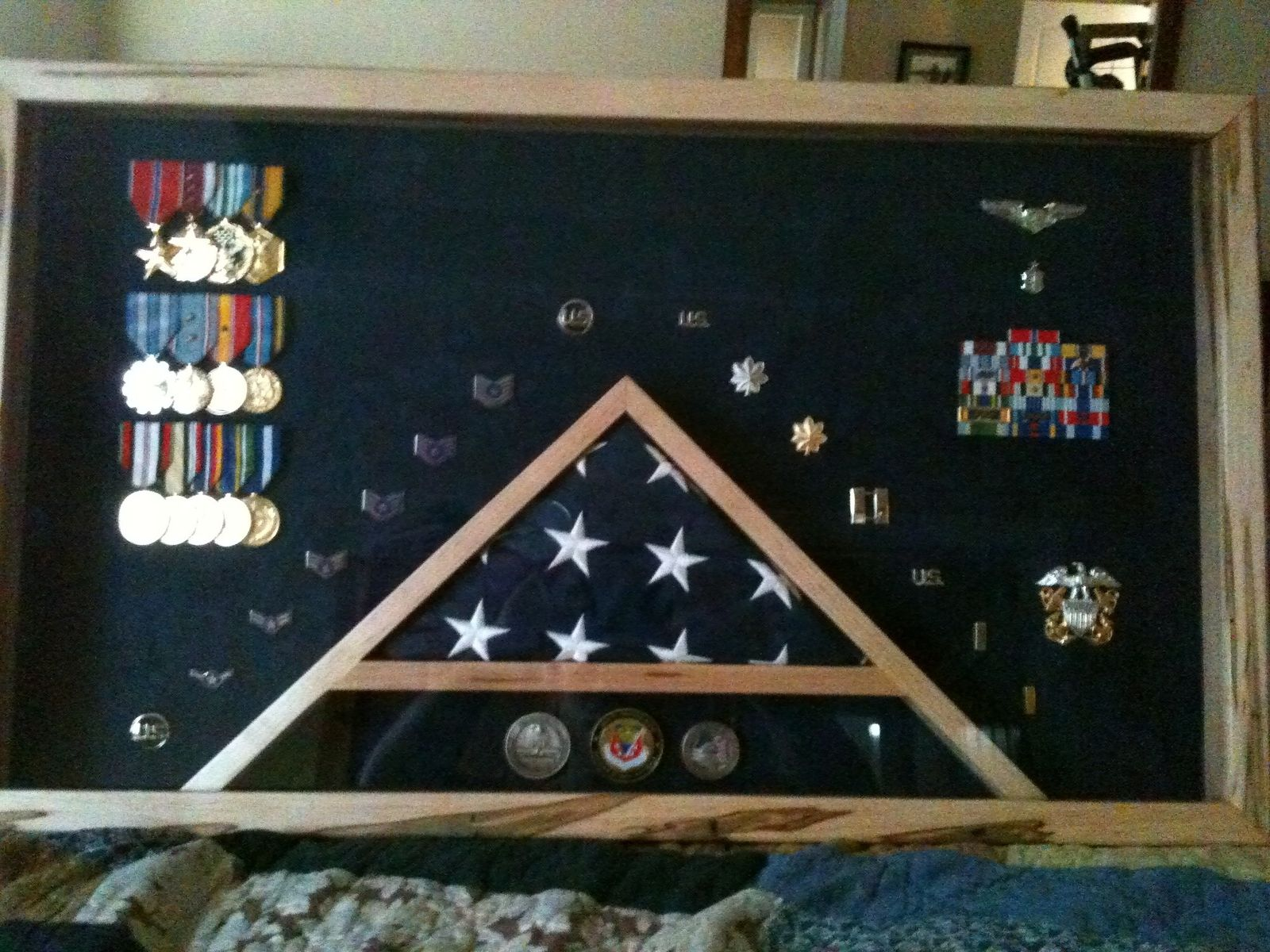 Hand Crafted Military Retirement Shadowbox By Vintage
