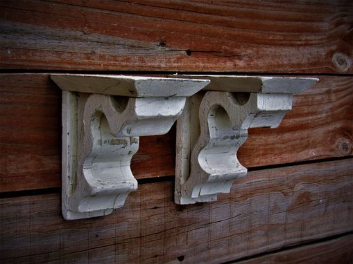 Custom Made Pair Of Antique Style Corbel Wooden Shelf, Distressed White Wooden Shelf Brace Wall Scone
