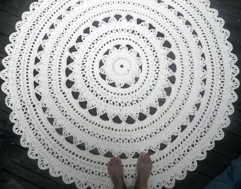 Custom Made Soft Ecru Off White Cotton Crochet Rug In Large 41 Circle Pattern