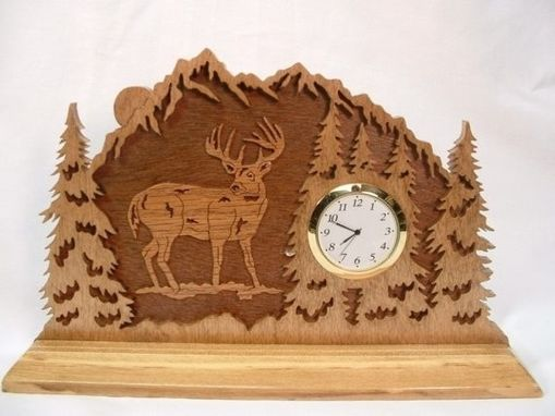 Custom Made Deer In The Forest Desk Clock