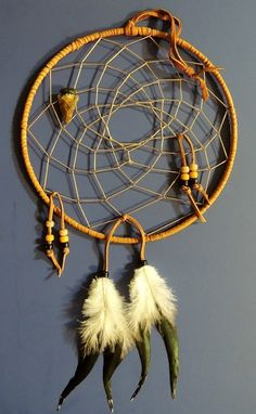 "Custom Made 9"" Dream Catcher, Handcrafted - Native American Decor, Arrowhead And Gold Buckskin Leather"
