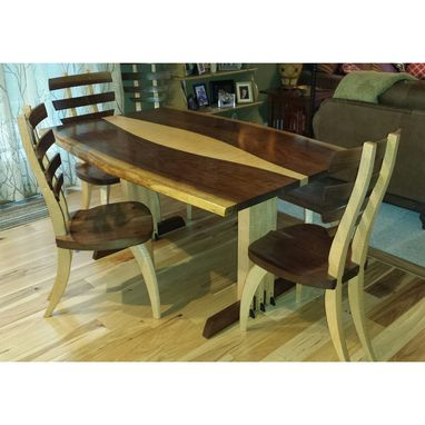 Custom Made Custom Walnut And Curly Maple Live Edge Dining Table