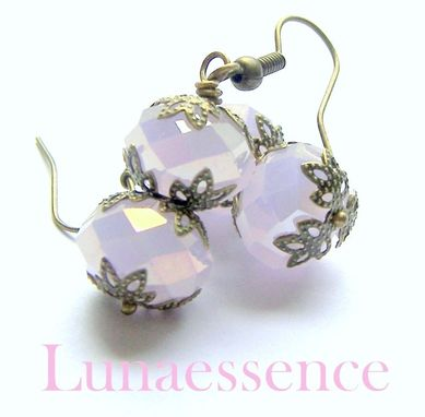 Custom Made Pink Opal Faceted Crystal Brass Filigree Earrings