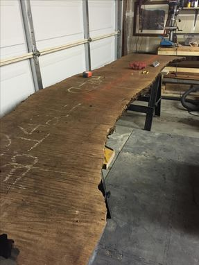 Custom Made Walnut Live Edge Table With Benches 8ft