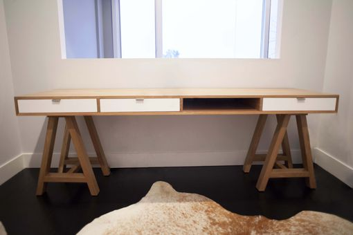 Custom Made White Oak Sawhorse Desk