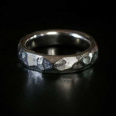 Custom Made Customized Silver Faceted Wedding Band Ring - For Men Or Women