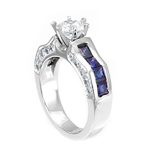 Custom Made Blue Sapphire And Diamond Engagement Ring In 14k White Gold, Engagement Ring, Blue Sapphire Ring