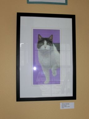Custom Made Framed Cat Print - 18 X 12 Giclee Fine Art Print With Mat - Pearl On Lavender