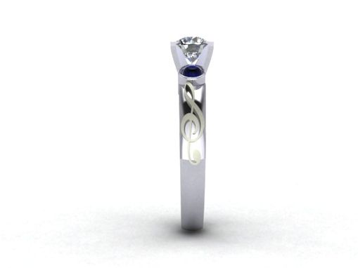 Custom Made G Clef Engagement Ring With Diamond And Black Sapphire