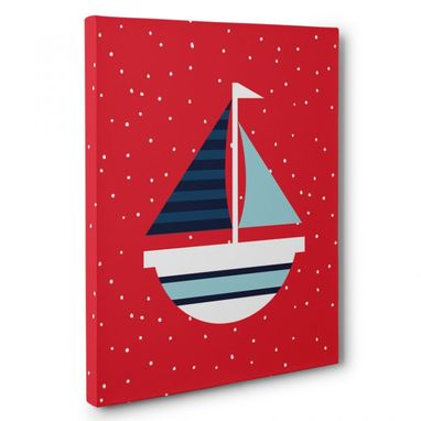 Custom Made Nautical Red And Blue Sailboat Nursery Canvas Wall Art