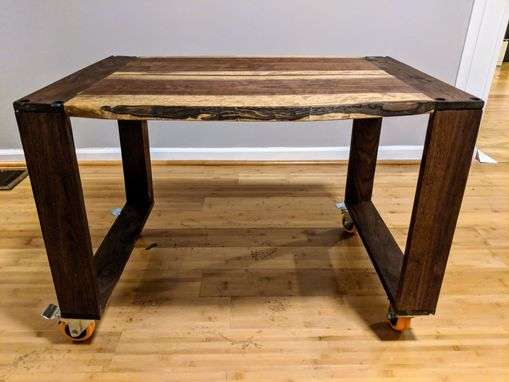 Custom Made Children's Rolling Live Edge Solid Walnut Table