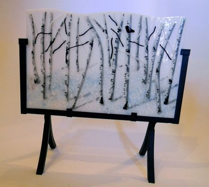Custom Made Aspen Winter Panel In Fused Glass