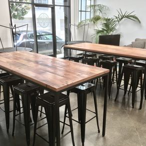 Hand Made Reclaimed Wood And Steel Industrial High Top Conference - Reclaimed wood high top table