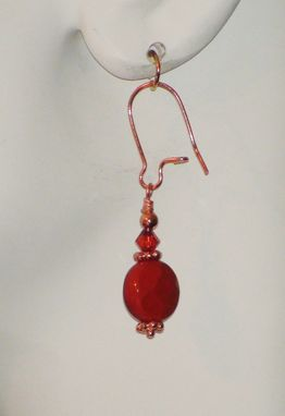 Custom Made Red Jasper And Swarovski Crystal Earrings In Copper