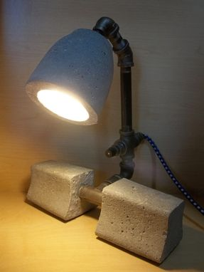 Custom Made Minimalist Industrial Upcycled Repurposed Concrete And Iron Table Or Desk Lamp