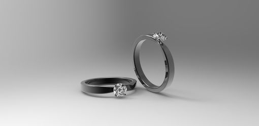 Custom Made 14k Black Gold Solitaire Engagement Ring With White Sapphire