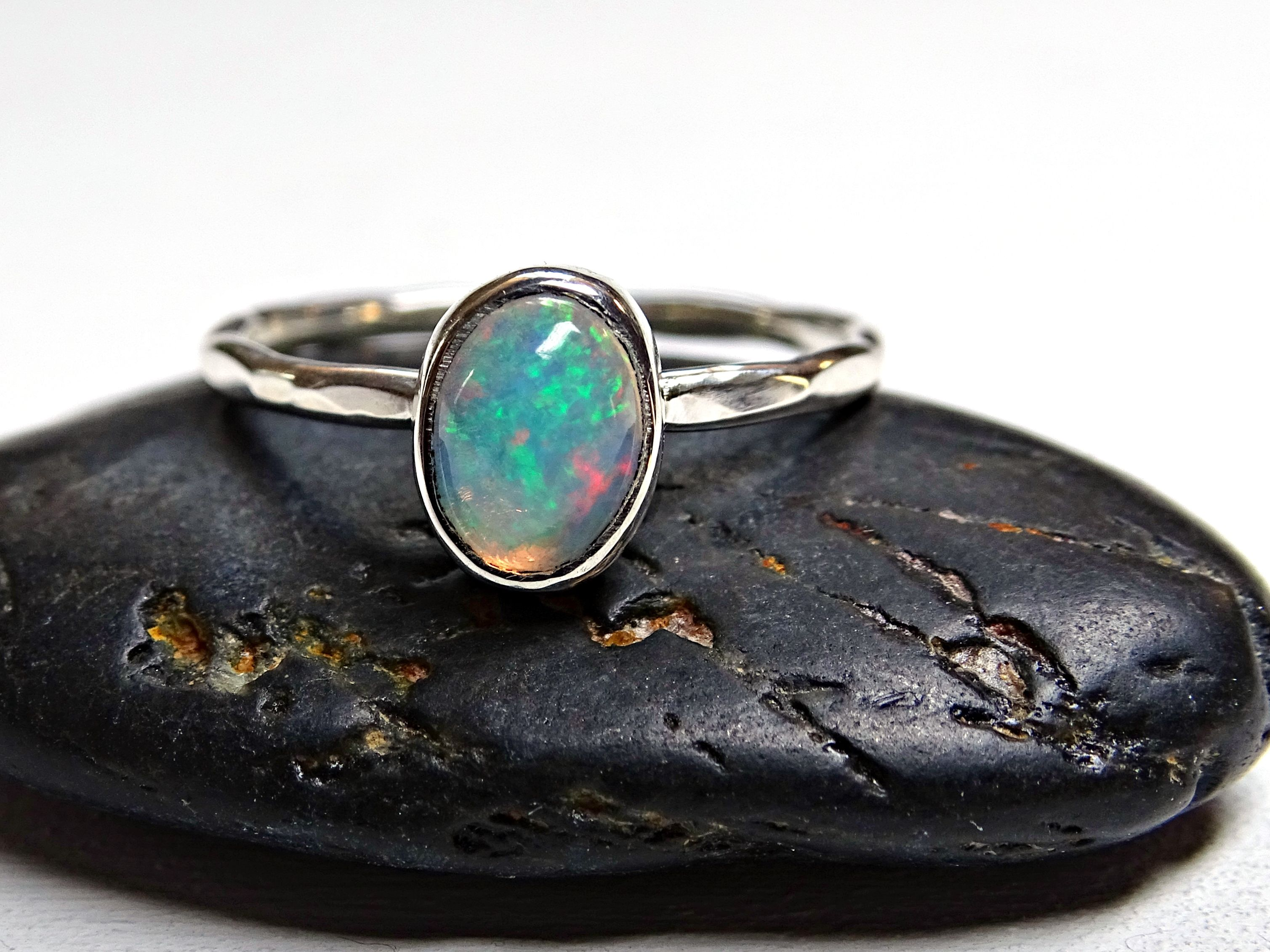 Buy a Hand Made Opal Engagement Ring Sterling Silver Blue Welo