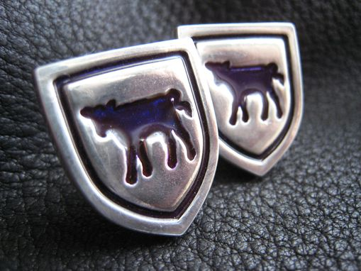 Custom Made Custom Sterling Silver Cufflinks With A Purple Cow - Williams College
