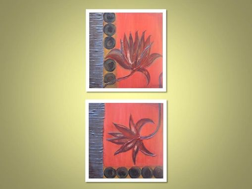 "Custom Made Flower Fine Art Print- Set Of 2- 8""X8"" Grey Red Orange Black By Devikasart"