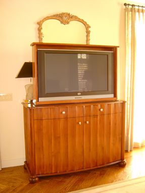 Custom Made Art Deco Tv Lift Console With Swivel