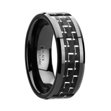 Custom Made Titan Black Beveled Ceramic Ring With Silver & Black Carbon Fiber Inlay - 8mm