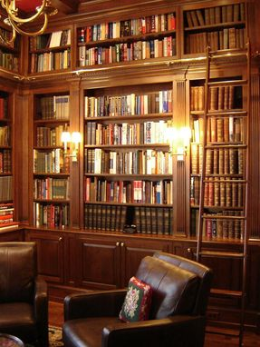 Custom Made Dark Cherry Library With Ladder